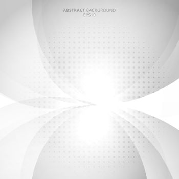Abstract modern white and gray circles with halftone background