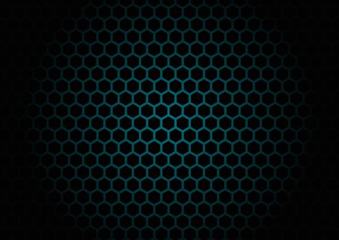 Abstract black hexagon mesh pattern on blue glowing background a