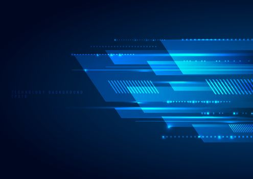 Abstract blue geometric lines overlapping layer movement on dark background. digital technology futuristic concept. Vector illustration
