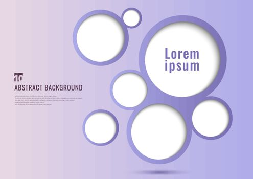 Abstract background purple circles frame bubble design with space for your text. Minimal style. Vector illustration