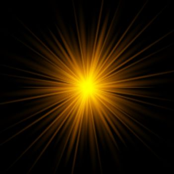 Yellow rays rising on dark background. Golden glowing light stars effect. Vector illustration