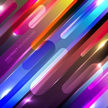 Abstract colorful glowing geometric rounded diagonal line dynamic shapes composition with lighting effect background. Vecor illustration
