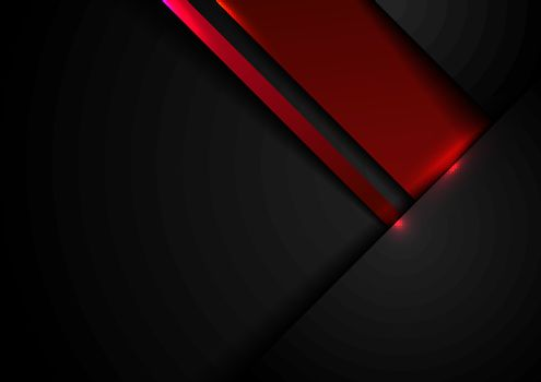 Abstract template black and red geometric overlapping with shadow and lighting effect on dark background technology style. Vector illustration