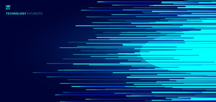 Abstract glowing blue horizontal lines pattern on dark background. Technology concept. Vector illustration