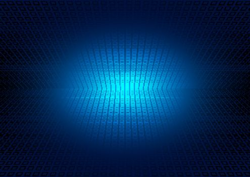 Abstract perspective grid on blue glowing background. square pattern lighting effect. Technology futuristic concept. Vector illustration