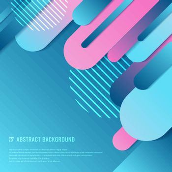 Abstract blue and pink geometric rounded line diagonal dynamic overlapping background. Minimal motion design. Vector illustration