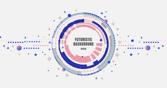 Abstract banner design technology futuristic blue and pink gear circles with geometric elements on white background. Vector illustration