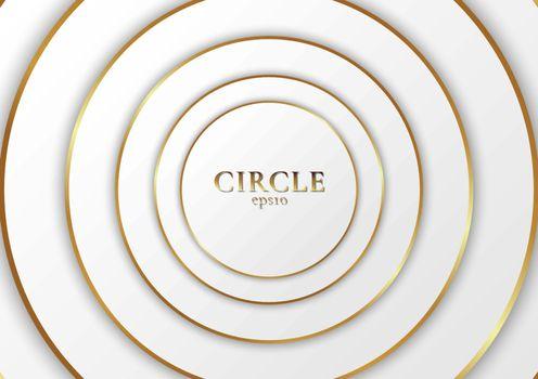 Abstract background elegant modern white circle shape design with golden line. Vector illustration