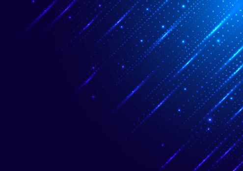 Abstract technology digital futuristic different neon glowing dots particles with lighting on blue background. Big data. Vector illustration