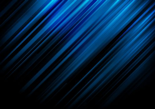 Abstract blue stripe diagonal lines light on black background with space for your text. Vector illustration
