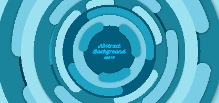 Banner web template abstract background blue circle border overlapping layered with shadow. Vector illustration