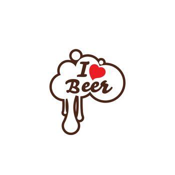 I love Beer Vector illustration design template