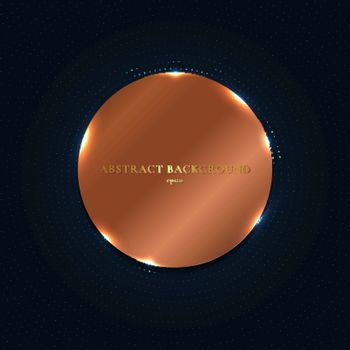 Abstract copper shiny metallic circle with particles elements on dark blue background. Vector illustration