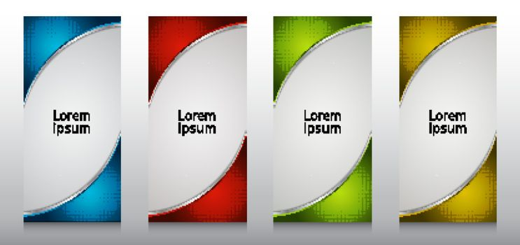 Set of roll up banner stand template design 3D dimension curve with radial halftone frame isolated on white background. Vector illustration