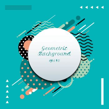 Abstract geometric circles pattern composition rounded line shapes diagonal transition background. You can use for cover, poster, template brochure, flyer, banner web. Vector illustration