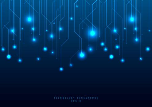 Abstract technology futuristic concept line and node on blue background. Networking science. Dark with connecting dots and lines. Connection structure. Vector illustration
