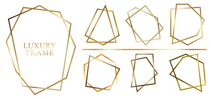 Set of modern shiny golden polygonal shapes on white background. Collection of lines gold geometric frames. You can use for design projects, advertisements, wedding invitations, cards or templates, etc. Vector illustration