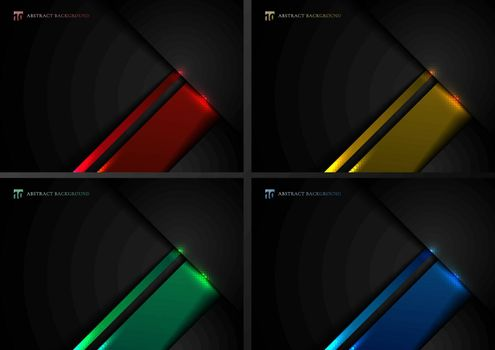 Set of abstract template black and blue, red, green and yellow geometric overlapping with shadow and lighting effect on dark background technology style. Vector illustration