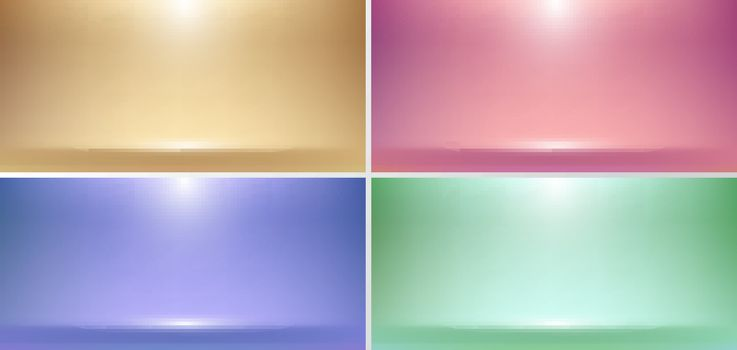 Set of 3D empty pink, gold, blue, green studio room background with spotlight on stage background. Display your product or artwork luxury style. Vector illustration