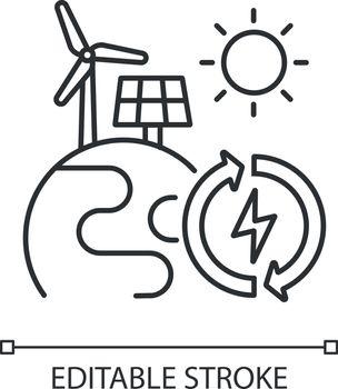 Renewable energy linear icons
