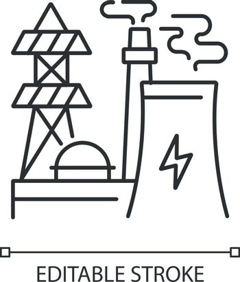 Energy industry linear icon. Electricity manufacturing thin line customizable illustration. Contour symbol. Modern power plant, electric station vector isolated outline drawing. Editable stroke