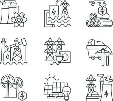 Energy business linear icons set. Industrial power plants customizable thin line contour symbols. Electricity generation stations. Isolated vector outline illustrations. Editable stroke