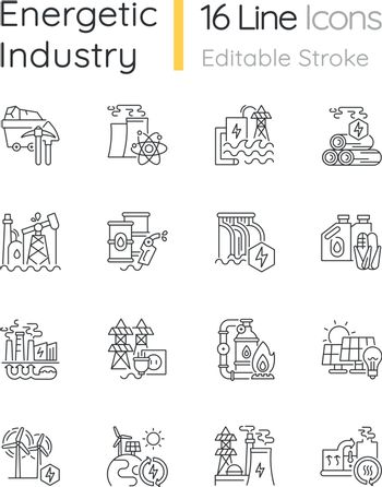 Energy industry linear icons set. Electricity manufacturing technologies and modern facilities customizable thin line contour symbols. Isolated vector outline illustrations. Editable stroke