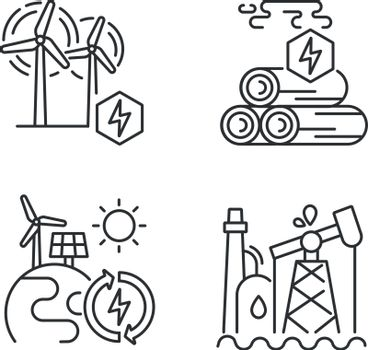 Traditional and alternative energy linear icons set. Wood energy, oil refinery, renewable power stations customizable thin line contour symbols. Isolated vector outline illustrations. Editable stroke