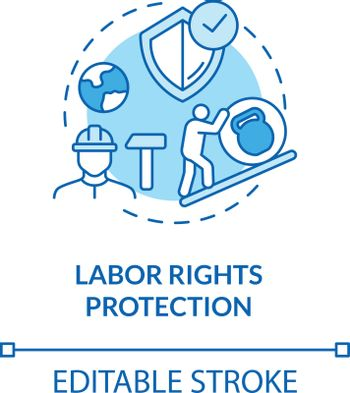 Labor rights protection turquoise concept icon. Employee health safety. Support labour movement. Trade union idea thin line illustration. Vector isolated outline RGB color drawing. Editable stroke