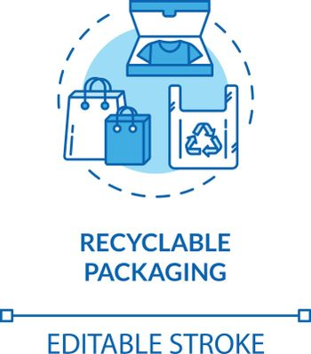 Recyclable packaging turquoise concept icon. Container for sustainable development. Ecological packet idea thin line illustration. Vector isolated outline RGB color drawing. Editable stroke