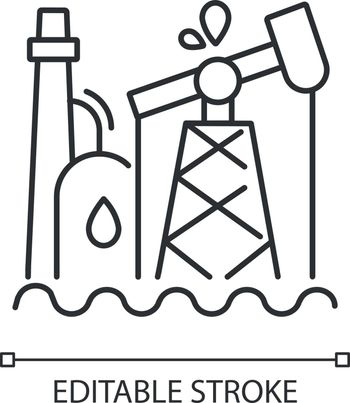 Oil industry linear icon. Petroleum refinery station, fossil fuel extraction plant. Thin line customizable illustration. Contour symbol. Oil pump vector isolated outline drawing. Editable stroke