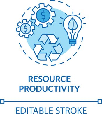 Resource productivity turquoise concept icon. Conscious consumption. Ecological service. Sustainable development idea thin line illustration. Vector isolated outline RGB color drawing. Editable stroke