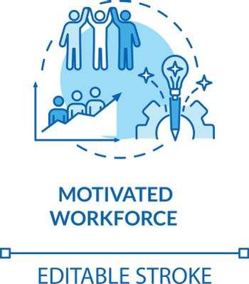 Motivated workforce turquoise concept icon. Employee encouragement. Staff performance. Personnel motivation idea thin line illustration. Vector isolated outline RGB color drawing. Editable stroke