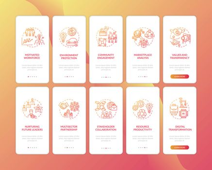 Responsible manufacturer onboarding mobile app page screen with concepts. Sustainable consumption walkthrough 5 steps graphic instructions. UI vector template with RGB color illustrations