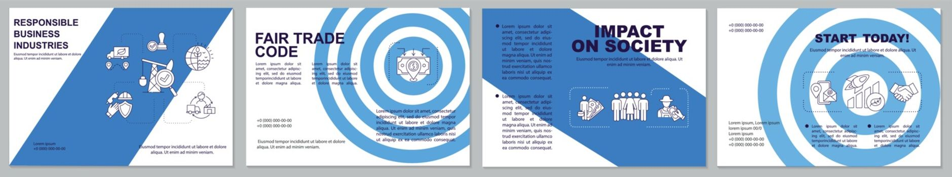 Ethical business brochure template. Responsible production. Flyer, booklet, leaflet print, cover design with linear icons. Vector layouts for magazines, annual reports, advertising posters