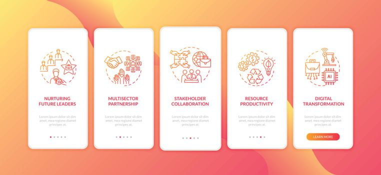 Corporation management onboarding mobile app page screen with concepts. Digital transformation walkthrough 5 steps graphic instructions. UI vector template with RGB color illustrations