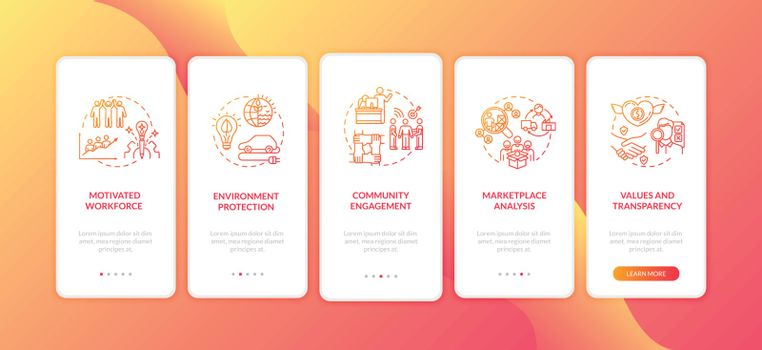 Successful manufacture onboarding mobile app page screen with concepts. Motivated workforce for company walkthrough 5 steps graphic instructions. UI vector template with RGB color illustrations