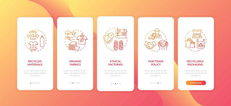 Eco friendly production onboarding mobile app page screen with concepts. Ethical material supplier walkthrough 5 steps graphic instructions. UI vector template with RGB color illustrations