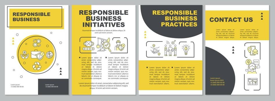 Responsible industrial production brochure template. Flyer, booklet, leaflet print, cover design with linear icons. Vector layouts for magazines, annual reports, advertising posters
