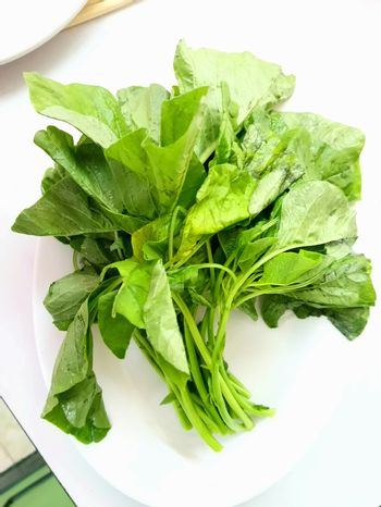 Green leafy vegetable at plate