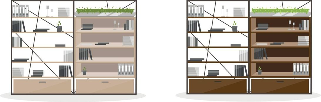 Office shelving flat color vector objects set. Office cabinet, wardrobe. Shelves with document and folders. Isolated cartoon illustration for web graphic design and animation collection