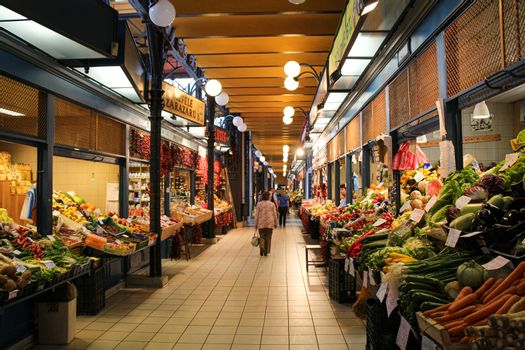 Budapest, Hungary - June 28th 2013: Fruit and vegetable stalls in the Central Market Hall in Budapest, Hungary