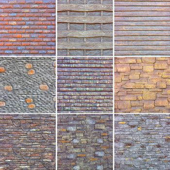Collage of various square stone and concrete textures for decorative outdoor decoration. High resolution textures, close-up, copy space.