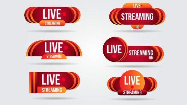 Set of live video streaming icons logo tv news banner interface.Red symbols lower third template broadcast.Red set of media labels on transparent background.