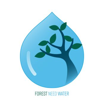 Trees use water when they are growing. Forest need water. Vector illustration outline flat design style.