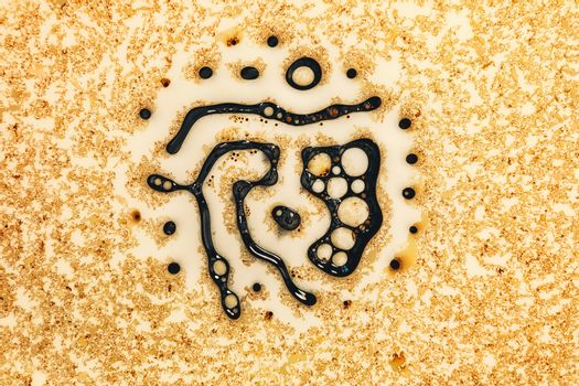 Microscopic phot with organisms and abstract shapes