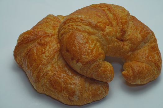 Two plain croissants on the white background copy space.