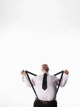 Overweight businessman stretching braces