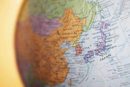 Political globe close-up of Japan