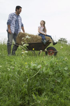 Father pushing daughter (5-6) in wheelbarrow in field